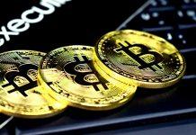 Golden Bitcoins on a keyboard